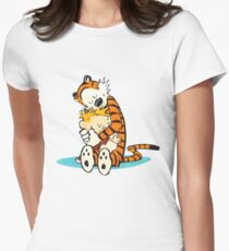 calvin and hobbes Hug Women's Fitted T-Shirt