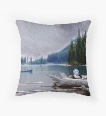 Canoeing-Moraine Lake  Throw Pillow