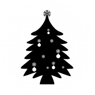 Fat Christmas Tree Sticker in Black and White by TheKitch