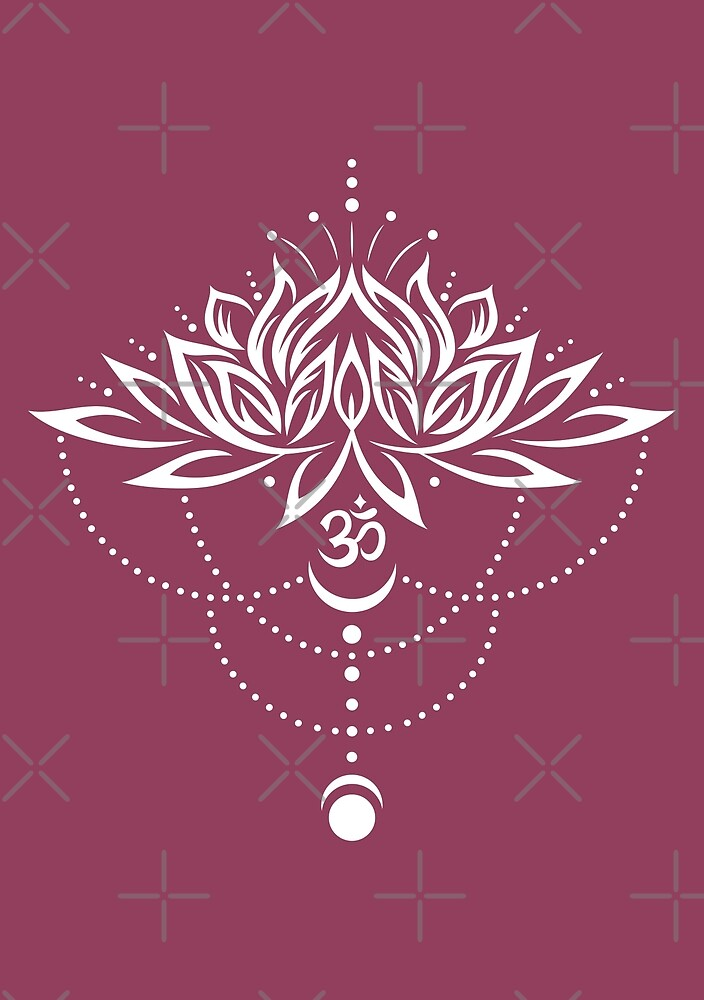 Lotus Lotus Flower With Om Symbol And Moon By Christine Krahl
