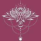 Lotus, Lotusblume mit Om Symbol und Mond. von Christine Krahl