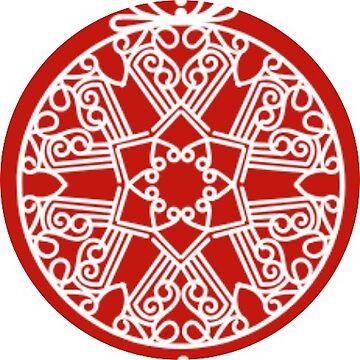 Red Mandala Snowflake Christmas Ball Ornament Sticker by TheKitch
