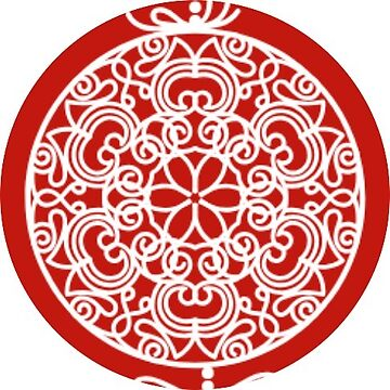 White Snowflake Mandala Red Ornament Sticker by TheKitch