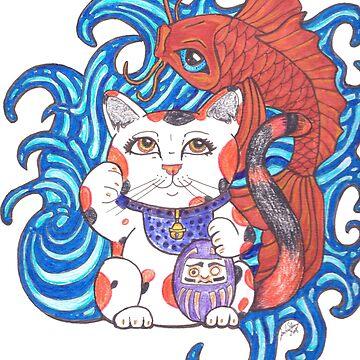 Lucky Calico Cat by JenStedmansArt