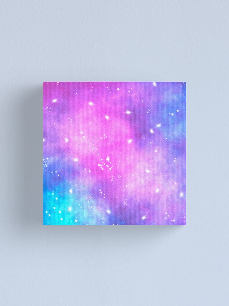 Alternate view of Hand painted pink purple turquoise watercolor nebula space glitter stars Canvas Print