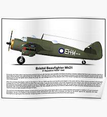 Bristol Beaufighter MK21 Profile Poster