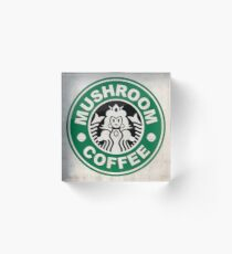 Mushroom Coffee Acrylic Block