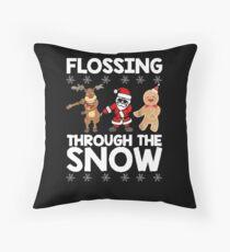 Flossing Through The Snow Santa Reindeer Gingerbread Tshirt Throw Pillow
