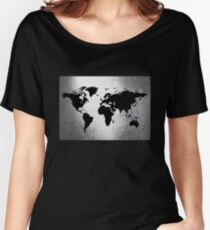World Map Metal Women's Relaxed Fit T-Shirt