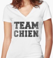 Team Chien Women's Fitted V-Neck T-Shirt