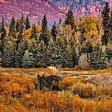 Lone Bull Moose by Skyviper