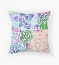 Masked Flora Collection Succulents Throw Pillow
