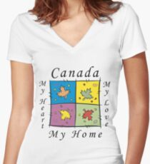 """Canadian """"Canada My Home My Heart..."""" Women's Fitted V-Neck T-Shirt"""