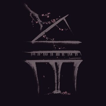 Elegant illustration of a Grand piano with a branch of sakura blossoms on black art print by AwenArtPrints