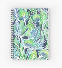 Masked Flora Collection Leaves Spiral Notebook
