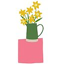 Daffodils on pink table by Lucinda Kidney