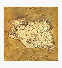Skyrim Worn Parchment Map Photographic Print