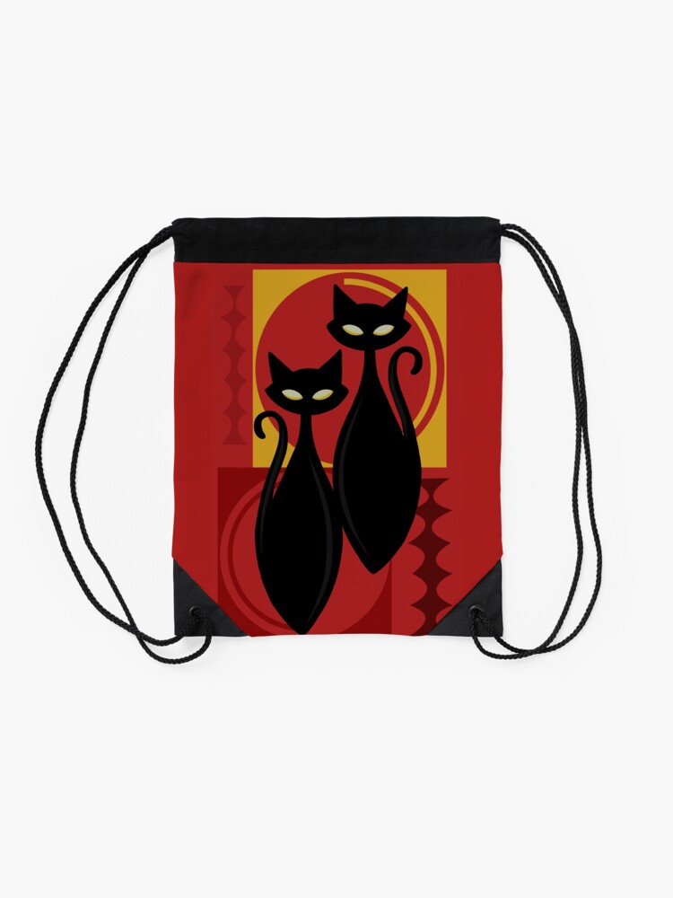 Alternate view of Devilishly Delightful Atomic Age Black Kitschy Cats Drawstring Bag