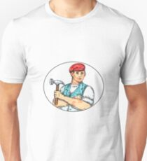 Vintage Carpenter Holding Hammer Mono Line Unisex T-Shirt