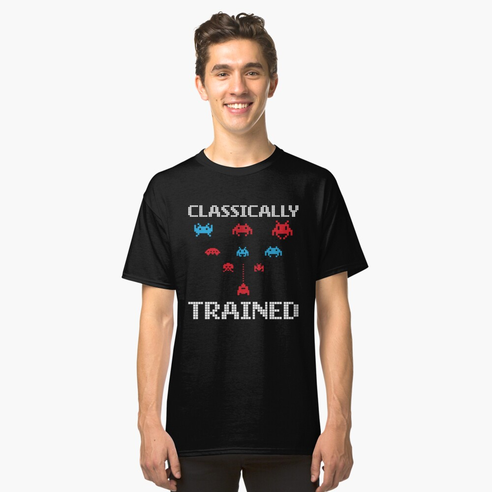 'Classically Trained' Funny 80's Video Game Icon  Classic T-Shirt Front
