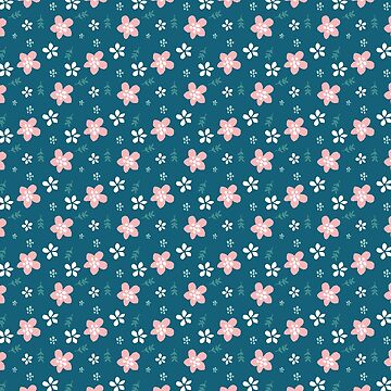 Cute Florals In Pink White On Blue Pattern  by junkydotcom
