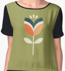 Retro Tulip - Orange and Olive Green Chiffon Top