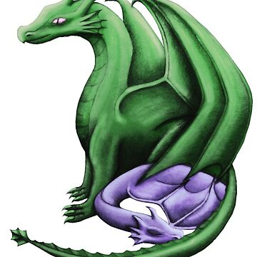 Green / Purple Dragon Family by shaneisadragon