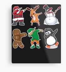Dabbing Santa Elf Deer Snowman Gingerbread Penguin Art Gift Metal Print