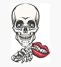 Death with Toy Lips in a hand Photographic Print