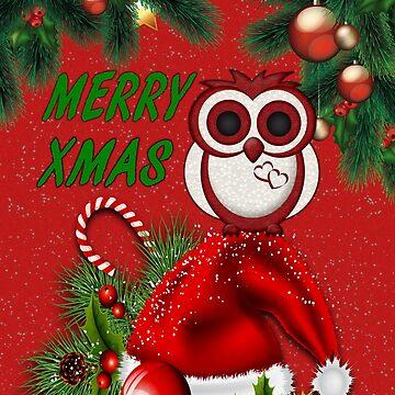 Cute Christmas Owl by LoneAngel