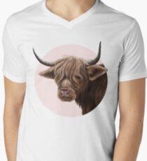 highland cattle portrait  V-Neck T-Shirt