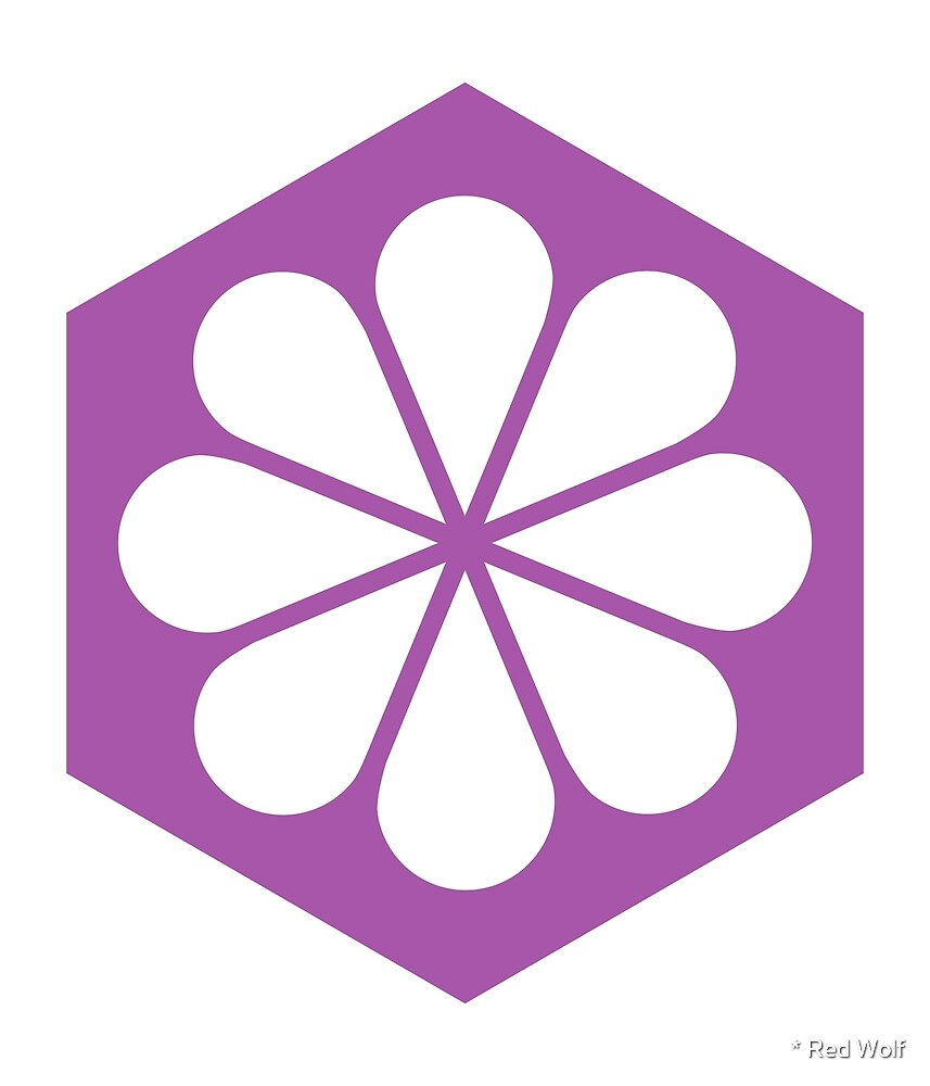 Geometric Pattern: Hexagon Flower: White/Purple by * Red Wolf