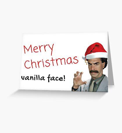 Tarjeta de Navidad Borat, Feliz Navidad, cara de vainilla, Regalos, Regalos, Paquetes de pegatinas, Novia, Novio, Esposo, Esposa, Hermana, Hermano, Mejor amigo Tarjeta de felicitación