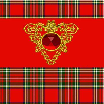 GOLD CELTIC HEART, RUBY GEMSTONE  WITH RED GREEN TARTAN by BulganLumini