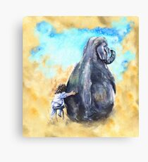 Friends Elephant and Girl watercolor art from George Dyachenko  Canvas Print