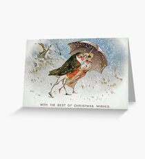 Victorian Christmas Bird Couple in the Snow  Greeting Card
