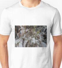 #winter #nature #snow #frost #outdoors #icee #cold #wood #season #bird #tree #frozen #dry #garden #grass #weather #horizontal #colorimage #nopeople #closeup #plant #day #animal Unisex T-Shirt