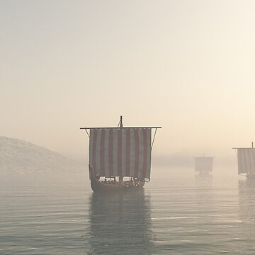 Viking Longships Approaching through the Mist by algoldesigns