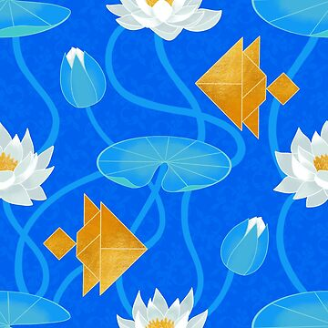Tangram goldfish and water lilies in blue by Elenanaylor