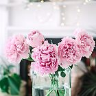 Vase of Pink Peonies with Fairy Lights by Tamsyn Morgans