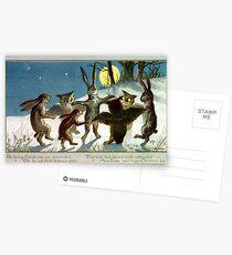 Victorian Christmas Woodland Animal Games Postcards