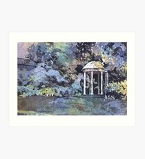 Watercolor painting of Old Well on University of North Carolina (UNC)- Chapel Hill, NC Art Print