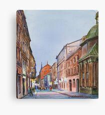Lviv's street in evening Canvas Print