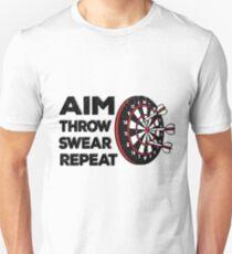 1eac8ebb4a Darts Funny Aim throw swear repeat Fan Gift Player Slim Fit T-Shirt