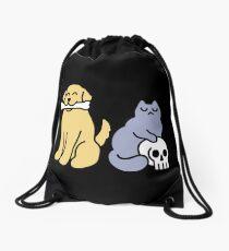 Good Dog Bad Cat Drawstring Bag