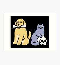 Good Dog Bad Cat Art Print