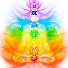 Yoga meditation conceptual illustration with chakras and energy flow on human body art print by AwenArtPrints