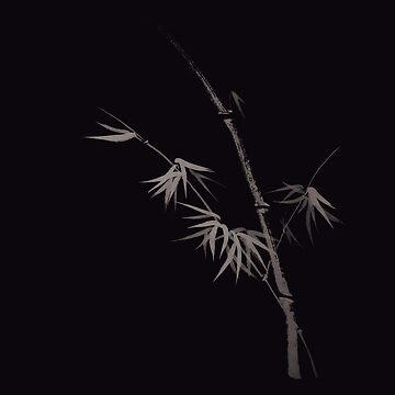 Elegant bamboo stalk with leaves Japanese Zen art design on black art print by AwenArtPrints
