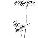 Bamboo stalk with branches and leaves Japanese Zen Sumi-e illustration on white art print by AwenArtPrints
