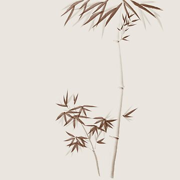 Elegant bamboo stalks with leaves Zen Sumi-e style illustration brown on beige background art print by AwenArtPrints